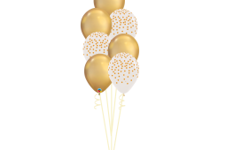 Helium Balloons bouquet – confetti and chrome