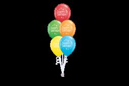 Helium balloon bouquet stamped Happy birthday