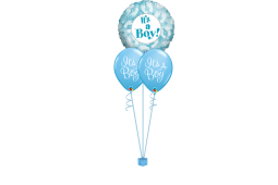Helium newborn baby balloon bouquet stamped 1 foil balloon and 2 stamped balloons It's a boy